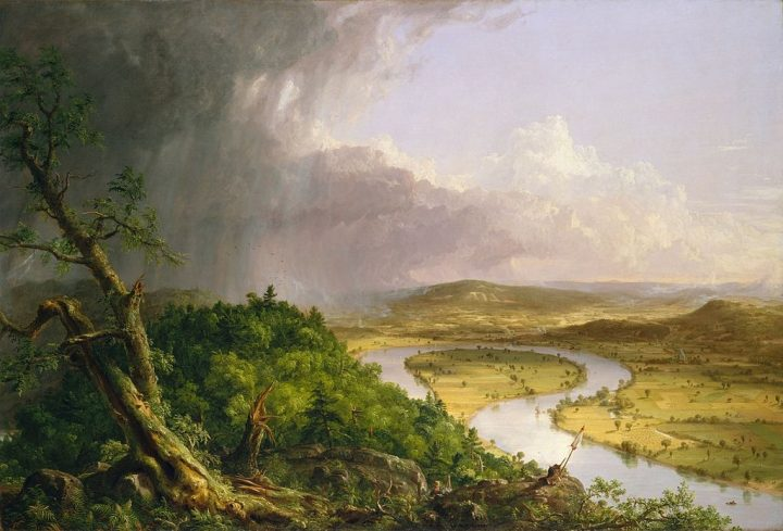 View from Mount Holyoke, Northampton, Massachusetts, after a Thunderstorm—The Oxbow, Thomas Cole, 1836, Metropolitan Museum of Art, New York City (Wikipedia).